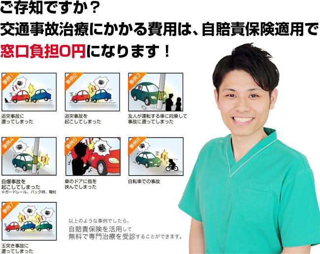 ご存知ですか?交通事故治療にかかる費用は自賠責保険適用で窓口負担0円になります!